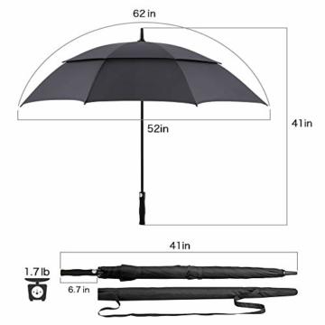 ROSEBEAR Automatischer Offener Golfschirm Winddichte Regenschirme Offener Übergroßer Regenschirm mit Doppeltem Baldachin. (Schwarz) - 7
