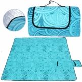 SaiXuan Picknickdecke 200 x 200 cm Outdoor Stranddecke wasserdichte sanddichte tolle Picknick-Matte Fleece wärmeisoliert wasserdicht mit Tragegriff (Pfauenblau) - 1