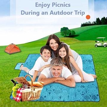 SaiXuan Picknickdecke 200 x 200 cm Outdoor Stranddecke wasserdichte sanddichte tolle Picknick-Matte Fleece wärmeisoliert wasserdicht mit Tragegriff (Pfauenblau) - 4