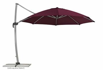 Schneider Sonnenschirm Rhodos Rondo, bordeaux, 350 cm rund, Gestell Aluminium, Bespannung Polyester, 22.4 kg - 1