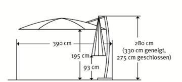Schneider Sonnenschirm Rhodos Rondo, bordeaux, 350 cm rund, Gestell Aluminium, Bespannung Polyester, 22.4 kg - 7