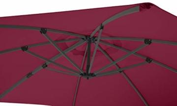Schneider Sonnenschirm Rhodos Rondo, bordeaux, 350 cm rund, Gestell Aluminium, Bespannung Polyester, 22.4 kg - 10