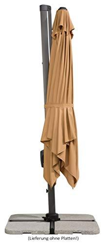 Schneider Sonnenschirm Rhodos Twist, sand, ca. 300 x 300 cm, 8-teilig, quadratisch - 2