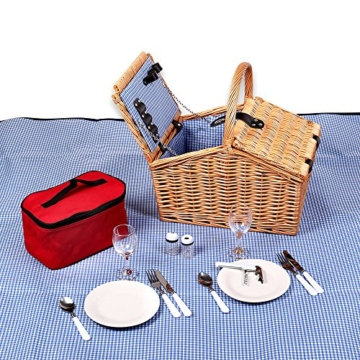 Schramm® Picknickkorb aus Weidenholz mit Henkel für 2 Personen hochwertiger Weidenkorb mit Picknickdecke Picknickset innen blau kariert - 2