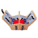 Schramm® Picknickkorb aus Weidenholz mit Henkel für 2 Personen hochwertiger Weidenkorb mit Picknickdecke Picknickset innen blau kariert - 1