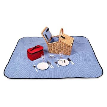 Schramm® Picknickkorb aus Weidenholz mit Henkel für 2 Personen hochwertiger Weidenkorb mit Picknickdecke Picknickset innen blau kariert - 3