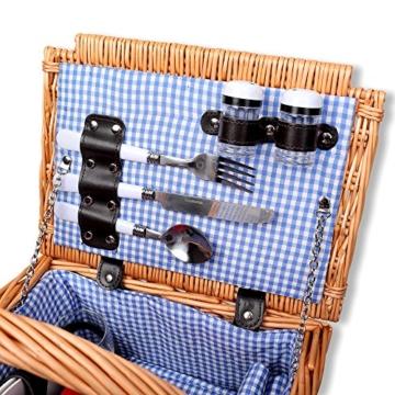 Schramm® Picknickkorb aus Weidenholz mit Henkel für 2 Personen hochwertiger Weidenkorb mit Picknickdecke Picknickset innen blau kariert - 4