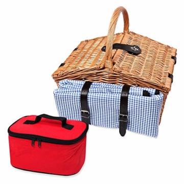 Schramm® Picknickkorb aus Weidenholz mit Henkel für 2 Personen hochwertiger Weidenkorb mit Picknickdecke Picknickset innen blau kariert - 5