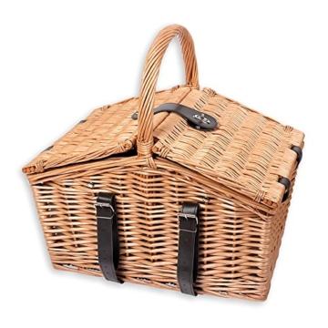 Schramm® Picknickkorb aus Weidenholz mit Henkel für 2 Personen hochwertiger Weidenkorb mit Picknickdecke Picknickset innen blau kariert - 7