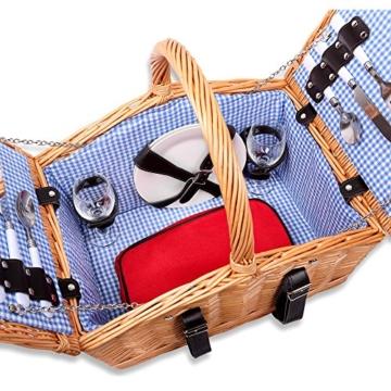 Schramm® Picknickkorb aus Weidenholz mit Henkel für 2 Personen hochwertiger Weidenkorb mit Picknickdecke Picknickset innen blau kariert - 8