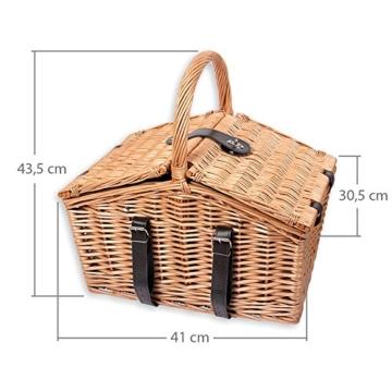 Schramm® Picknickkorb aus Weidenholz mit Henkel für 2 Personen hochwertiger Weidenkorb mit Picknickdecke Picknickset innen blau kariert - 9