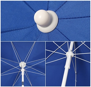 Sekey® Sonnenschirm 160 cm Marktschirm Gartenschirm Terrassenschirm Blau Rund Sonnenschutz UV20+ - 5
