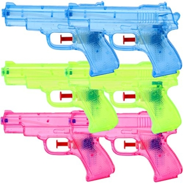 TE-Trend 6 Stück Wasserpistolen Spritzpistolen Set 13 cm Kindergeburtstag Party Mitgebsel - 1