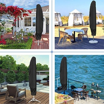 UKEER Sonnenschirm Schutzhülle, Sonnenschirm Abdeckung mit Stab Ampelschirm Schutzhülle Wasserdicht, UV-Anti, Winddicht für 2 bis 4 m Große Sonnenschirm 265CM(50 * 70 * 40CM) - 5