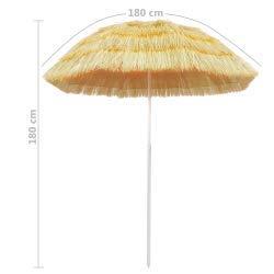 vidaXL Strandschirm Natur 180cm Hawaii Sonnenschirm Gartenschirm Balkonschirm - 3