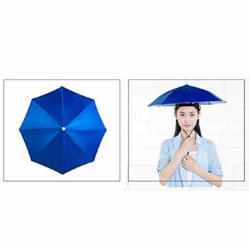 Xpccj Regenschirmhut Kappe Angelkappe Strandschirm Regenschirm Regenschirm Hut Faltbare Kopfbedeckung Kopfbedeckung für Sommer Zeit Outdoor, nicht null, blau, 80 cm - 2