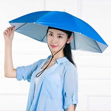 Xpccj Regenschirmhut Kappe Angelkappe Strandschirm Regenschirm Regenschirm Hut Faltbare Kopfbedeckung Kopfbedeckung für Sommer Zeit Outdoor, nicht null, blau, 80 cm - 3
