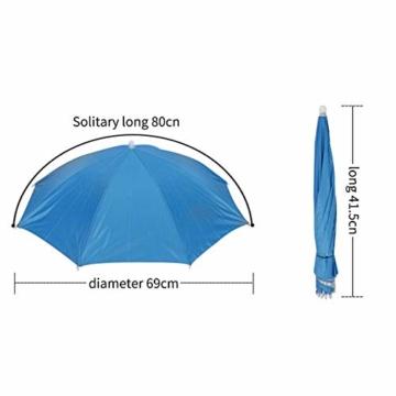 Xpccj Regenschirmhut Kappe Angelkappe Strandschirm Regenschirm Regenschirm Hut Faltbare Kopfbedeckung Kopfbedeckung für Sommer Zeit Outdoor, nicht null, blau, 80 cm - 4