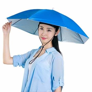 Xpccj Regenschirmhut Kappe Angelkappe Strandschirm Regenschirm Regenschirm Hut Faltbare Kopfbedeckung Kopfbedeckung für Sommer Zeit Outdoor, nicht null, blau, 80 cm - 1