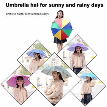 Xpccj Regenschirmhut Kappe Angelkappe Strandschirm Regenschirm Regenschirm Hut Faltbare Kopfbedeckung Kopfbedeckung für Sommer Zeit Outdoor, nicht null, blau, 80 cm - 5
