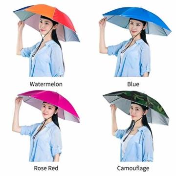 Xpccj Regenschirmhut Kappe Angelkappe Strandschirm Regenschirm Regenschirm Hut Faltbare Kopfbedeckung Kopfbedeckung für Sommer Zeit Outdoor, nicht null, blau, 80 cm - 6