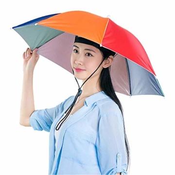 Xpccj Regenschirmhut Kappe Angelkappe Strandschirm Regenschirm Regenschirm Hut Faltbare Kopfbedeckung Kopfbedeckung für Sommer Zeit Outdoor, nicht null, blau, 80 cm - 7