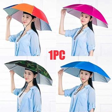 Xpccj Regenschirmhut Kappe Angelkappe Strandschirm Regenschirm Regenschirm Hut Faltbare Kopfbedeckung Kopfbedeckung für Sommer Zeit Outdoor, nicht null, blau, 80 cm - 8