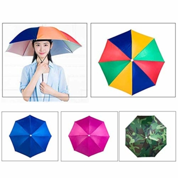 Xpccj Regenschirmhut Kappe Angelkappe Strandschirm Regenschirm Regenschirm Hut Faltbare Kopfbedeckung Kopfbedeckung für Sommer Zeit Outdoor, nicht null, blau, 80 cm - 9