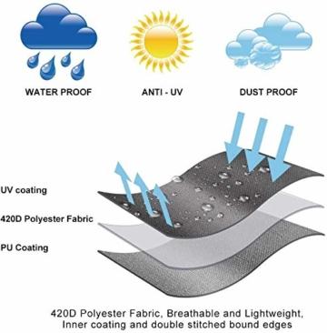 zizwe Sonnenschirm Abdeckung, Sonnenschirm Schutzhülle mit Stab, Wetterfeste, UV-Anti, Winddicht und Schneesicher, Outdoor für Ampelschirm (265 * 40/70/ 50 cm) - 6