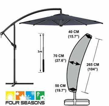 zizwe Sonnenschirm Abdeckung, Sonnenschirm Schutzhülle mit Stab, Wetterfeste, UV-Anti, Winddicht und Schneesicher, Outdoor für Ampelschirm (265 * 40/70/ 50 cm) - 7