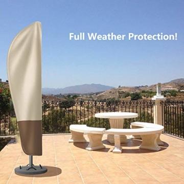 zizwe Sonnenschirm Abdeckung, Sonnenschirm Schutzhülle mit Stab, Wetterfeste, UV-Anti, Winddicht und Schneesicher, Outdoor für Ampelschirm (265 * 40/70/ 50 cm) - 8