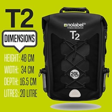 100% Wasserdichter Rucksack | 20L | ideal für Radsport + Camping + Wassersport & Strand by Nolabel | Schutz vor Wasser + Sand + Staub & Matsch (Komplett Schwarz) - 4