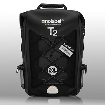 100% Wasserdichter Rucksack | 20L | ideal für Radsport + Camping + Wassersport & Strand by Nolabel | Schutz vor Wasser + Sand + Staub & Matsch (Komplett Schwarz) - 1