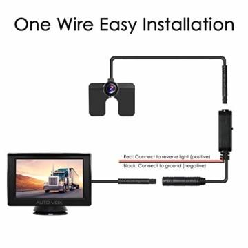 AUTO-VOX M1 Rückfahrkamera mit Monitor, IP68 wasserdichte AutoKamera für Einparkhilfe Rückfahrhilfe mit Stabiler Signalübertragung, 4.3'' TFT LCD Rückansicht Bildschirm - 6