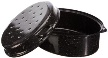 axentia Gansbräter schwarz/weiß 42 cm, Emaille-Bräter mit Deckel, hochwertiger Bräter aus Emaille induktionsgeeignet, pflegeleichter Bratentopf Volumen ca. 10,5 Liter, Deckel als Pfanne verwendbar - 4