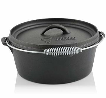 BBQ-Toro Dutch Oven Set in Holzkiste mit Dutch Oven und mehr | Gusseisen - bereits eingebrannt (7-teilig) - 5