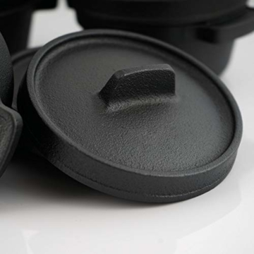 BBQ-Toro Mini Dutch Oven Set (6 Stück) I Ø 11 cm I bereits eingebrannt - preseasoned I Gusseisen Serviertöpfe I Kochtopf Kleiner Bräter Gusstopf - 5