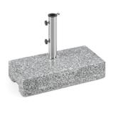 blumfeldt Schirmherr 25HSQ Sonnenschirmständer Schirmständer (Stammdicke: 3,5-4 cm, versetztes Rohr, Granit, witterungsbeständig, 45x22 cm, hochstabil, 25 kg) Silber-grau - 1