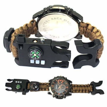 CWYPB Survival Armbacelet Watch, Multifunktionale Notfall-Welt-Outdoor-Umbrella Rope Woven Uhren mit Paracord Whistle Fire Starter Compass und Thermometer Gear,C - 2