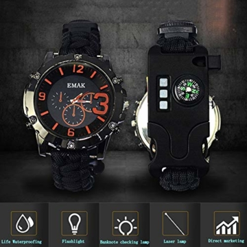 CWYPB Survival Armbacelet Watch, Multifunktionale Notfall-Welt-Outdoor-Umbrella Rope Woven Uhren mit Paracord Whistle Fire Starter Compass und Thermometer Gear,C - 4