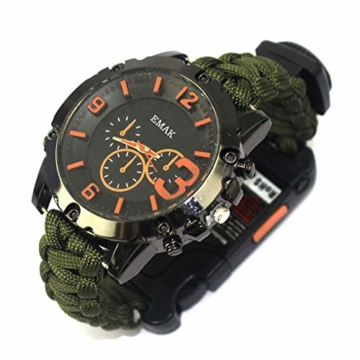 CWYPB Survival Armbacelet Watch, Multifunktionale Notfall-Welt-Outdoor-Umbrella Rope Woven Uhren mit Paracord Whistle Fire Starter Compass und Thermometer Gear,C - 1