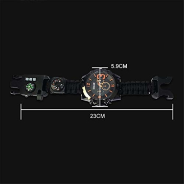 CWYPB Survival Armbacelet Watch, Multifunktionale Notfall-Welt-Outdoor-Umbrella Rope Woven Uhren mit Paracord Whistle Fire Starter Compass und Thermometer Gear,C - 5
