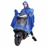 EMVANV Regenmantel für Motorrad, wasserdicht, für Elektromobile, Roller, Motorrad, Regenponcho mit Spiegelschlitzen, reflektierende Streifen für sicheres Fahren bei Nacht., blau - 1