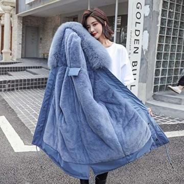 FDSAD Outdoor-Wintermäntel für Damen, modisch, dünn, gepolstert, warm, lang, 5 Farben, Größe M, Blau - 1