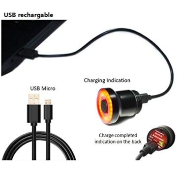 Fiveschoice LED Fahrradlicht USB Wiederaufladbare LED Fahrradbeleuchtung Fahrradlampe LED Rücklicht USB Fahrradlichter - 8