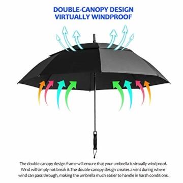 FIXM Golfschirm 172 cm Bogenlänge 153cm Durchmesser Golf Regenschirm, Automatisch Öffnen Golfschirm, Belüftete Doppelbespannung, Wasserdicht, rutschfest & Langlebig, Perfekt gegen Wind, Regen & Sonne - 3