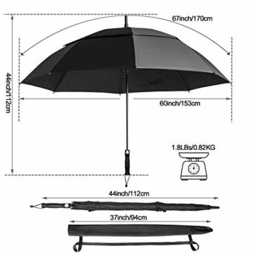 FIXM Golfschirm 172 cm Bogenlänge 153cm Durchmesser Golf Regenschirm, Automatisch Öffnen Golfschirm, Belüftete Doppelbespannung, Wasserdicht, rutschfest & Langlebig, Perfekt gegen Wind, Regen & Sonne - 4