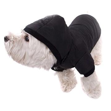 GOODS+GADGETS Schwarzer Hundemantel mit Kapuze; Schicke Hunde-Jacke Hundeanorak für Ihren Hund; Größe L (41cm) - 2