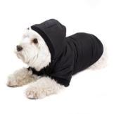 GOODS+GADGETS Schwarzer Hundemantel mit Kapuze; Schicke Hunde-Jacke Hundeanorak für Ihren Hund; Größe L (41cm) - 1