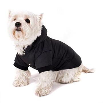 GOODS+GADGETS Schwarzer Hundemantel mit Kapuze; Schicke Hunde-Jacke Hundeanorak für Ihren Hund; Größe L (41cm) - 4